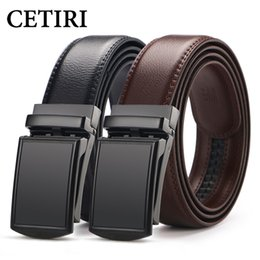leather ratchet belt NZ - Cetiri Men's Ratchet Click Genuine Leather Dress Belt For Men Jeans Holeless Automatic Sliding Buckle Black Brown Belts Cin C19040801