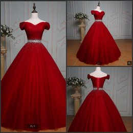 Real Sexy Pictures NZ - Vestido De Festa 2019 robe de soiree real picture ball gown wine prom dress beading pleated off the shoulder sexy prom gowns corset dress