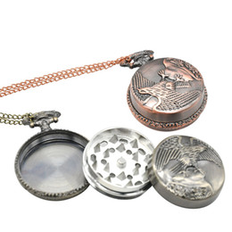 Tobacco grinder waTch online shopping - Pocket Watch Shape Herb Grinder mm Metal Eagle Tobacco Grinder Layers Smoking Grinding Machine Tobacco Crusher Smoke Grinders
