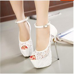 Wedding Party White Sandals NZ - Fashion Bridal White Lace Wedding Shoes 16cm Heels Pumps Ankle Strap 16CM Sexy Super High Heels prom dress shoes Club Party Sandals