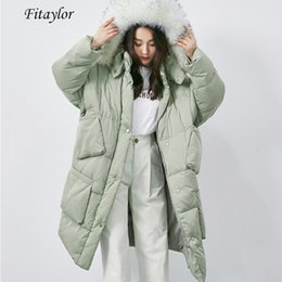 $enCountryForm.capitalKeyWord Australia - Fitaylor Winter Women Large Real Fox Fur Collar Hooded White Duck Down Parkas Big Pocket Removable Hat Long Jacket Loose Outwear