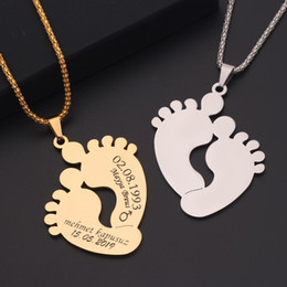 4a94124792 Customized Feet Necklace Stainless Steel Engraved Name Date Necklace For  Women Silver Gold Pendants Choker Family Jewelry Gift