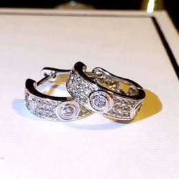 Toptan satış kadınlar nişan düğün takı çiftler sevgilisi hediye Orijinal kutusu 925 gümüş elmas küpe