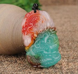 red agate dragon UK - Xinjiang Gobi gold silk jade color jade chicken blood jade floating flower dragon brand pendant colorful agate zodiac dragon men and women j