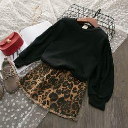 Cute Spring Shirts Australia - leopard print Girls Outfits cute Kids Sets 2019 new Spring Autumn Fashion Girls Dress Suits long sleeve T shirt+ Denim Skirts A3847