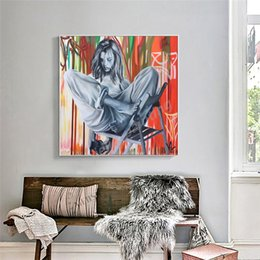 painting clothing Australia - Sunday Clothes Art Canvas Woman With Long Hair Poster Print Abstract Painting Black White Wall Picture Modern Home Decoration