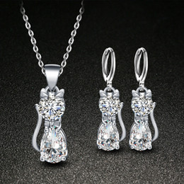 $enCountryForm.capitalKeyWord Australia - Jewelry sets for women Earrings Necklace set lovely animal cat jewellery crystal pendant necklace sets for girls