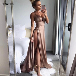 Red Dress V Neck Straps Australia - Sexy Two Slits Red Prom Dresses Empire Spaghetti Straps V-neck Party Gowns Cheap Low Back Special Occasion Dress 2019 Summer