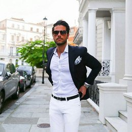 $enCountryForm.capitalKeyWord Australia - Dark Blue Coat Grey Pants Business Man Items Men Suits for Wedding Groom Tuxedo Groomsmen Blazer trajes de hombre 2Piece Terno Masculino