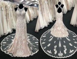 $enCountryForm.capitalKeyWord Australia - Amazing Champagne Mermaid Wedding Dresses Sheer Neck Keyhole Back Applique Lace Court Train Long Cheap Wedding Dress Bridal Gowns Cheap