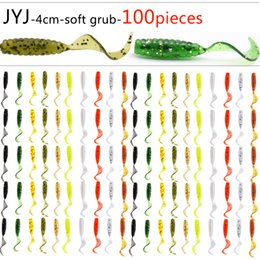 $enCountryForm.capitalKeyWord Australia - 100pcs Soft plastic artificial isca pesca circle tail protein Grub lure fishing worm moggot grub lure baits 4cm