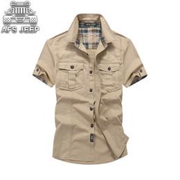 Military Collar Shirts Australia - Loose Mens Blouses Afs Jeep Plaid Collar Casual Denim Shirts Military Cargo Short Sleeve European And American 100% Cotton Q190518