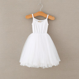 white ruffle tutu NZ - 2020 Baby Girls Tulle Sling Dress Children Suspender Mesh Tutu Princess Dresses Cute Bubble Skirt Kids Ballet Skirts Summer Dress CZ224