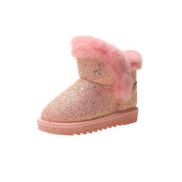 Boys shoes years old online shopping - Children Ankle Little Girl Fashion Bling Snow Boots Winter New Warm Plush Boots Kids Shoes Year Old