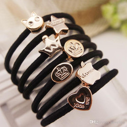 Indian Hair Rubber Bands Australia - Elastic Black Hair Rubber Bands Women Girls hair Accessories Star Crown Love Heart Rope High Quality Hair Ring Pony Tails Holder