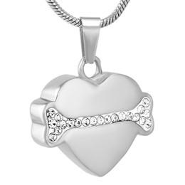 $enCountryForm.capitalKeyWord Australia - IJD9722 Clear Crystal Dog Bone Heart Memorial Urn Jewelry Free Engraving Pet Cremation Keepsake Pendant Necklace For Ashes