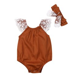 baby lace bodysuit UK - Newborn Baby Girls Bodysuit Summer Infant Clothes Lace Jumpsuit Baby Bodysuits+Headband Toddler Clothing Kids Outfit 0-2T 2pcs