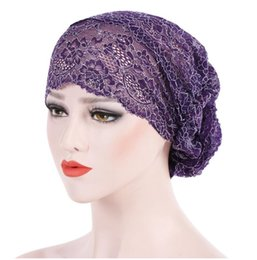 chemo beanie NZ - 2018 New Women Floral Lace Turban Hats India Cap Hairnet Muslims Chemo Cap Flower Head Wear Bonnet Beanies Htas for Women
