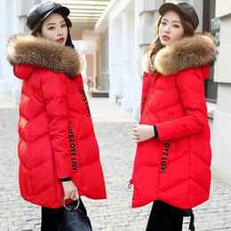 Wholesale coats hoods for women for sale - Group buy 2019 Autumn Winter Jacket Women Parkas for Coat Fashion Female Down Jacket with A Hood Large Faux Fur Collar Coat Women MZQ040
