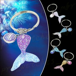 $enCountryForm.capitalKeyWord Australia - Mermaid Keychain Sequins Fish Scale Keyring Pendant Car Handbag Phone Purse Keyring Decor 5 Colors H0113
