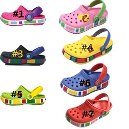 Discount girls medium size heel sandals - Summer Children Cave Shoes Boys Girls Outdoor Beach Slippers Kids Soft Flip Flops Breathable Holes Light Toddler Cute An
