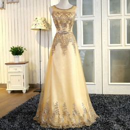 Gold Lace Peplum Dress Australia - Tulle Lace Gold Evening Dress Long Beading Formal Gown Prom Embroidery Robe Partry Hostess Dress Long Elegant Even Dress