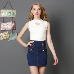 $enCountryForm.capitalKeyWord NZ - Spring 2019 high waist, large size half-length skirt, double-row buckle strap skirt, sexy hip-wrapped jeans skirt