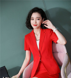 Discount office jackets for ladies - Novelty Red Slim Fashion Short Sleeve Professional Women Blazers and Jackets Coat For Ladies Office Work Wear Outwear To