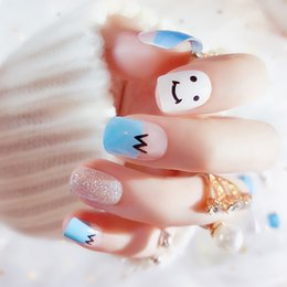 Discount cute sweet nails - Women Finished Stitching Color Beauty Fake Nails Girls Sweet Cute Smiley Short Nail Art Tips with Glue 24pcs DIY False N