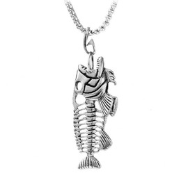 $enCountryForm.capitalKeyWord Australia - Fashion Fish Bone & Fishing Hook Pendant Necklaces Punk Style Hollow Fish Skeleton Bone Necklace Men Link Chain 4 Colors Personality Jewelry