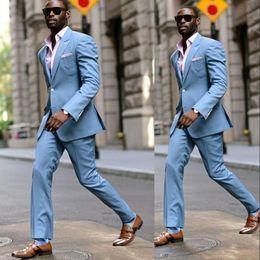 $enCountryForm.capitalKeyWord Australia - New Style Groom Tuxedos Peaked Lapel Blue Men Suits For Wedding Best Man Blazer Bridegroom Suit ( Jacket+Pan (Jacket+Pants)