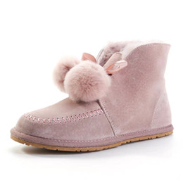 roman shoes 2020 - Brand Design Women cow leather Winter Snow Boots Fashion Australia High Top ball bow Rabbit Fur Home Shoe Pink Ankle Mar