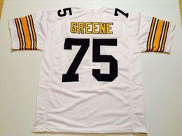 1d20634b8b1 Cheap Retro custom Sewn Stitched #75 Joe Greene White MITCHELL & NESS Jersey  High-end Men's Football Jerseys College NCAA