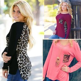 Lace Long sLeeve womens top online shopping - womens tops round Neck long Sleeve T Shirts Summer ladies tops Knitting stitching leopard chiffon t shirt European Style Tops