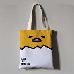 Cute Canvas Handbags Australia - Gudetama Canvas Women Handbag Cute Cartoon Egg Shoulder Totes Messenger Bag Leisure Crossbody Beach Travel Bag