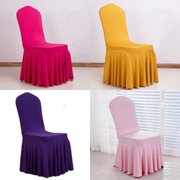 wedding chair wholesale Canada - Chair Skirt Cover Wedding Banquet Chair Protector Slipcover Decor Pleated Skirt Style Chair Covers Elastic Spandex EEA459