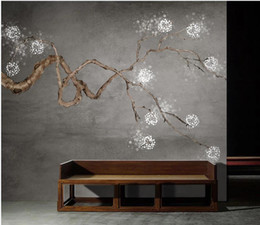 Plum blossoms art online shopping - window mural wallpaper Hand painted new chinese plum blossom gray art tv background wall painting