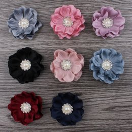 pearl accessories for girl kids Canada - 10pcs lot 4.6cm 8colors Hair Clips Mini Felt Flower+Rhinestone Pearl Bead For Kids Girls Hair Accessories DIY Fabric Flowers