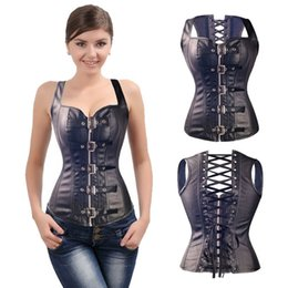 13df601ff5 6xl plus size Steampunk Gothic Corset steel boned Lace Up Waist corset top  Sexy latex pvc Bustier Women vintage leather lingerie