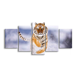 $enCountryForm.capitalKeyWord UK - 5 pieces high-definition print tiger canvas painting poster and wall art living room picture B-012C