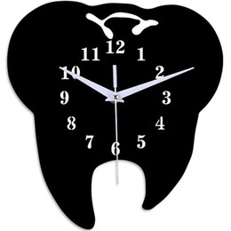 Discount tooth shape dental Timelike Creative Tooth-Shaped Wall Clock Dental Ornament Wall Clock 3D Acrylic Creative Mirror Sticker Home Decor