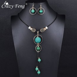 Discount crazy earrings - Crazy Feng Elegant Long Necklaces and Earrings Sets For Women Red Metal Round Rope Pendant Dubai Bridal Wedding J ewelry