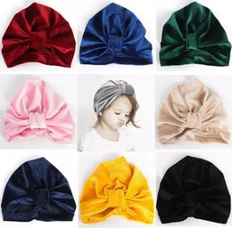 Discount childrens crochet hats - xmas kids fall winter hats wholesale indians muslim baby beanie hats velvet girls knot hat caps infant turban twist chil