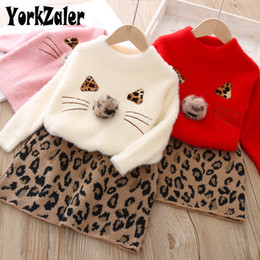 leopard winter clothes for kids girls 2019 - Yorkzaler Autumn Winter Kids Clothing Set For Girls Long Sleeve Sweater With Printed Leopard Skirt Casual Children 2pcs