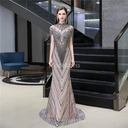 chic formal evening gown UK - Luxury Evening Dresses Illusion Crystals Beading Tassel Formal Party Prom Gowns Sweep Train Special Occasion Dresses Chic Vestidos De Fiesta