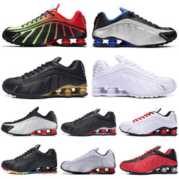 Black Gold Australia - 2019 Designer Shox R4 Challenge Red Running Shoes Men Triple White Black Gold Athletic mens Trainer Tennis Sports Sneakers runner size 40-45