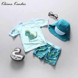 $enCountryForm.capitalKeyWord Australia - Upf50+ Two Pieces Swimsuits For Boys Dinosaur Print Children Short Sleeved Rash Guard Bathing Suits Infant Baby Boy Swimwear Y19072301