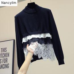 $enCountryForm.capitalKeyWord Australia - New Korean Styke Lace Stitching Knitted Jacket Women Pullovers Coat Girls Ladies Fashion Sweater Sweatshirt Nancylim Autumn