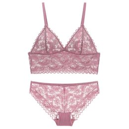 77479e6a6b430 Triangle cup full lace transparent bralette wireless bra and panty set  ultrathin women sexy underwear sets pullover lingerie intimates