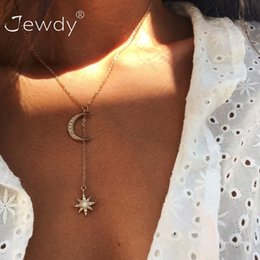 moon star crystal necklace NZ - New Boho Jewelry Multi Layer Crystal Moon Star Choker Necklaces For Women Vintage Fashion Pendant Vintage Collier Necklace